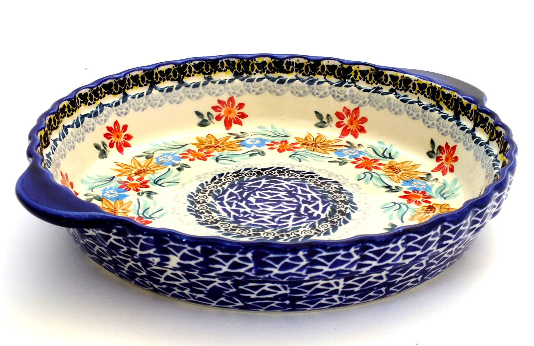 Color Palette Polish Pottery 9 5 Quot Pie Dish Stoneware With