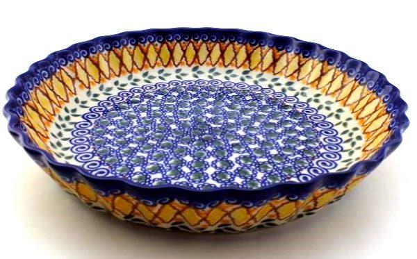 Color Palette Polish Pottery 10 Quot Pie Dish Fluted Unikat
