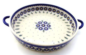 Round Baker with handles Polish Pottery