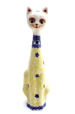 Polish Pottery Cat statue
