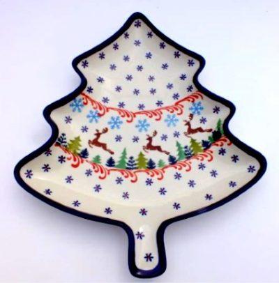 Polish Pottery Zaklady Christmas Tree Tray