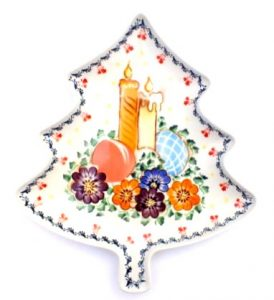 Polish Pottery Zaklady Christmas Tree Tray