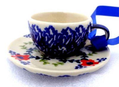 Polish Pottery Tea Cup Saucer Ornament MF