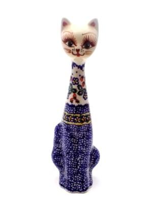 Polish Pottery Cat Figurine