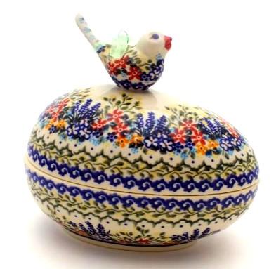 Polish Pottery Keepsake Easter Egg with Birdie