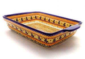 Polish Pottery Lg Rect baker handles