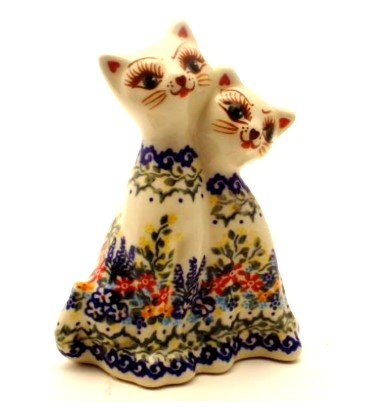 Polish Pottery Twin Cat Figure